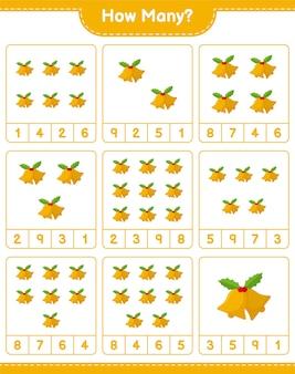 Liczenie gier, ile christmas bell. gra edukacyjna dla dzieci, arkusz do druku