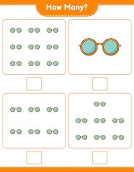 Liczenie gier, ile okularów przeciwsłonecznych. gra edukacyjna dla dzieci, arkusz do druku