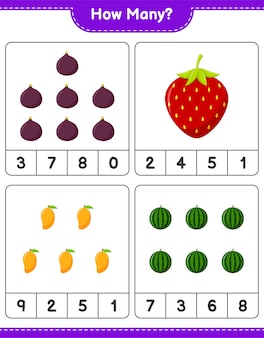 Liczenie gier, ile owoców. gra edukacyjna dla dzieci, arkusz do druku, ilustracja