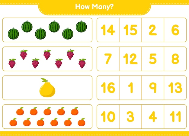 Liczenie gier, ile owoców.