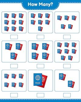 Liczenie gier, ile paszportów. gra edukacyjna dla dzieci, arkusz do druku