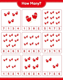 Liczenie gier, ile rękawiczek. gra edukacyjna dla dzieci, arkusz do druku