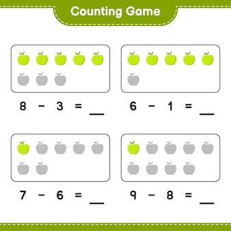 Liczenie gier, policz liczbę apple i zapisz wynik. gra edukacyjna dla dzieci, arkusz do druku