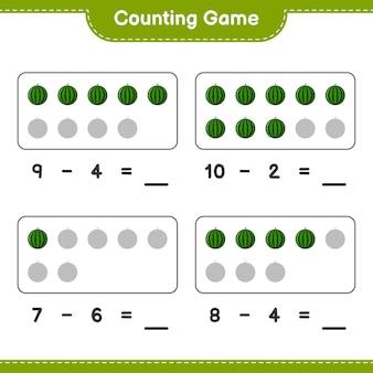 Liczenie gier, policz liczbę arbuzów i zapisz wynik. gra edukacyjna dla dzieci, arkusz do druku