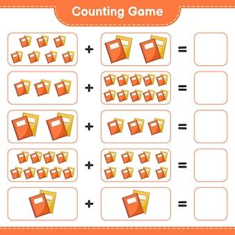 Liczenie gier, policz liczbę book i zapisz wynik. gra edukacyjna dla dzieci, arkusz do druku, ilustracja