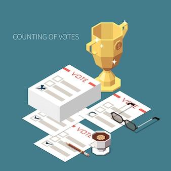 Liczenie głosów koncepcja izometryczna ilustracja zestaw puchar zwycięzców i stos kart do głosowania ze znacznikami wyboru