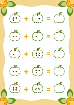 Liczenie gra dla dzieci edukacyjna gra matematyczna arkusze dodawania z jabłkami