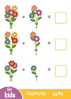 Liczenie gra dla dzieci w wieku przedszkolnym. edukacyjna gra matematyczna. policz liczbę kwiatów i zapisz wynik. arkusze dodawania