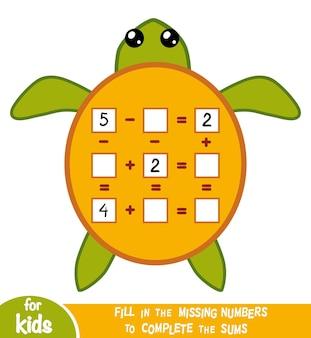 Liczenie gra dla dzieci w wieku przedszkolnym. edukacyjna gra matematyczna. policz liczby na obrazku i zapisz wynik. arkusze dodawania i odejmowania z żółwiem