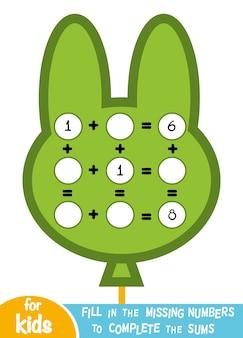 Liczenie gra dla dzieci w wieku przedszkolnym. edukacyjna gra matematyczna. policz liczby na obrazku i zapisz wynik. arkusze dodawania z balonem