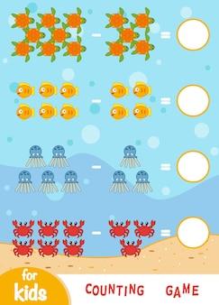 Liczenie gra dla dzieci w wieku przedszkolnym. edukacyjna gra matematyczna. policz zwierzęta morskie i zapisz wynik. arkusze odejmowania