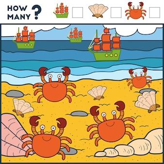 Liczenie gra dla dzieci w wieku przedszkolnym gra edukacyjna matematyczna kraby i plaża