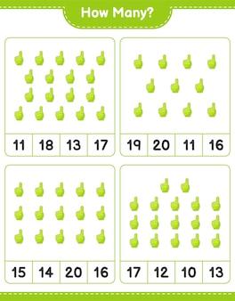 Liczenie gra, ile foam finger edukacyjna gra dla dzieci do wydrukowania arkusza
