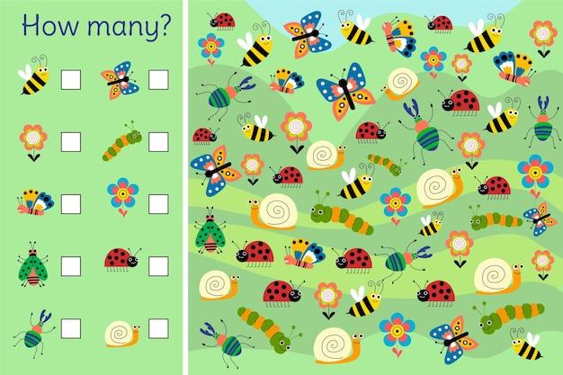 Liczenie gra z ilustracjami owadów