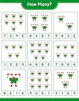 Liczenie gry, ile cukierków ze wstążką. gra edukacyjna dla dzieci, arkusz do druku