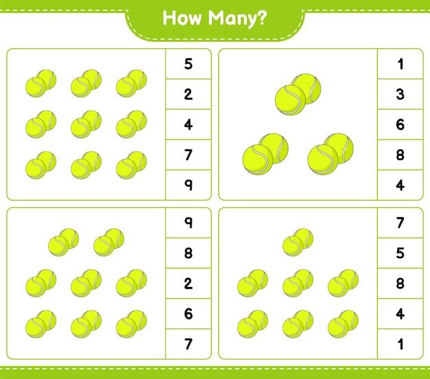 Liczenie gry, ile piłka tenisowa edukacyjna gra dla dzieci do wydrukowania arkusza
