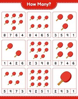 Liczenie gry, ile ping pong rakieta edukacyjna gra dla dzieci do wydrukowania arkusza