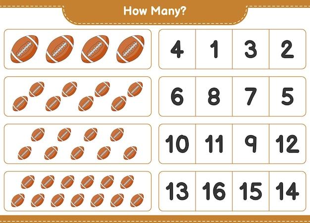 Liczenie gry, ile rugby ball. gra edukacyjna dla dzieci, arkusz do druku, ilustracja wektorowa