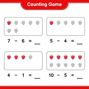Liczenie gry, policz ilość malin i zapisz wynik. gra edukacyjna dla dzieci, arkusz do druku