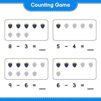 Liczenie gry, policz jeżyny i zapisz wynik. gra edukacyjna dla dzieci, arkusz do druku