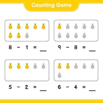 Liczenie gry, policz liczbę ananasów i zapisz wynik. gra edukacyjna dla dzieci, arkusz do druku
