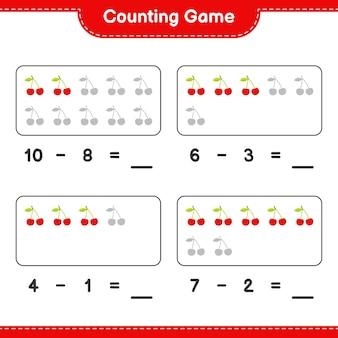 Liczenie gry, policz liczbę cherry i zapisz wynik. gra edukacyjna dla dzieci, arkusz do druku