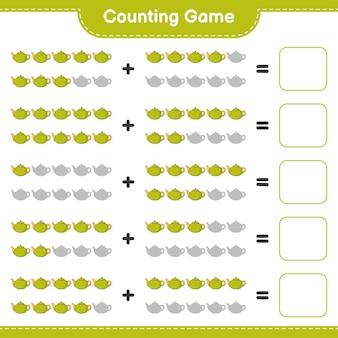 Liczenie gry, policz liczbę dzbanek do herbaty i zapisz wynik. gra edukacyjna dla dzieci, arkusz do druku