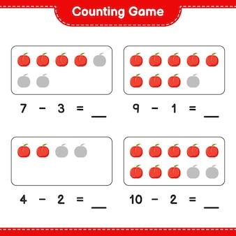 Liczenie gry, policz liczbę nektarynek i zapisz wynik. gra edukacyjna dla dzieci, arkusz do druku