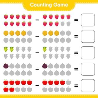 Liczenie gry, policz liczbę owoców i zapisz wynik. gra edukacyjna dla dzieci, arkusz do druku