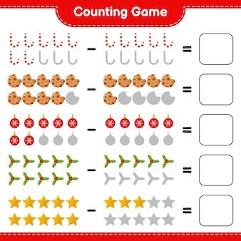 Liczenie gry, policz liczbę świątecznych dekoracji i napisz wynik. gra edukacyjna dla dzieci