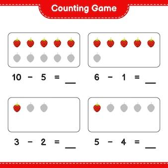 Liczenie gry, policz liczbę truskawek i zapisz wynik. gra edukacyjna dla dzieci, arkusz do druku