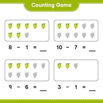 Liczenie gry, policz liczbę winogron i zapisz wynik. gra edukacyjna dla dzieci, arkusz do druku