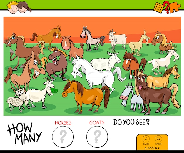 Liczenie konie i kozy edukacyjne gry dla dzieci