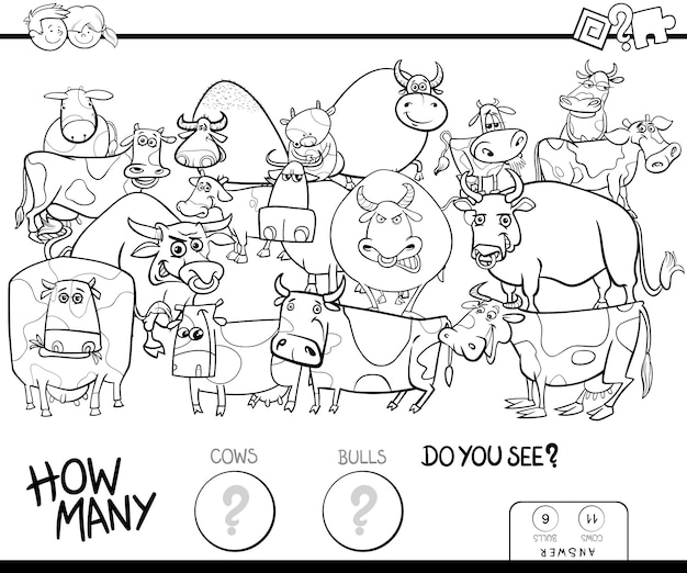 Liczenie krowy i książki kolorystyki gry byków