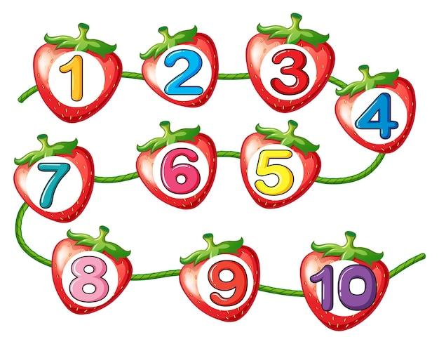 Liczenie liczb na truskawkach