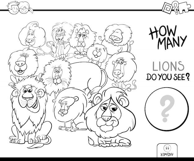 Liczenie zwierząt lwy gry kolorowanka