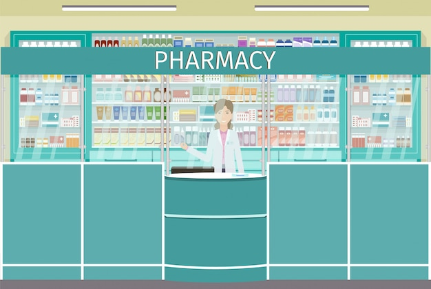 Licznik apteczny z żeńską postacią farmaceuty. wnętrze apteki z gablotami z lekami.