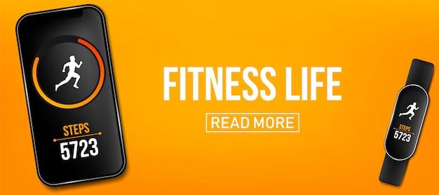 Licznik fitness działa aplikacja banner, bransoletka na rękę