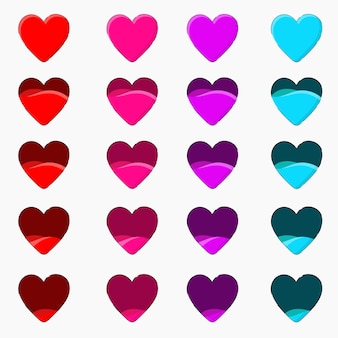 Licznik miłości, licznik życia, licznik energii, walentynki i ikony serca do gier.