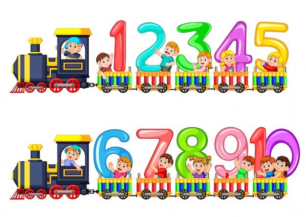 Liczyć do dziesięciu z dziećmi w pociągu