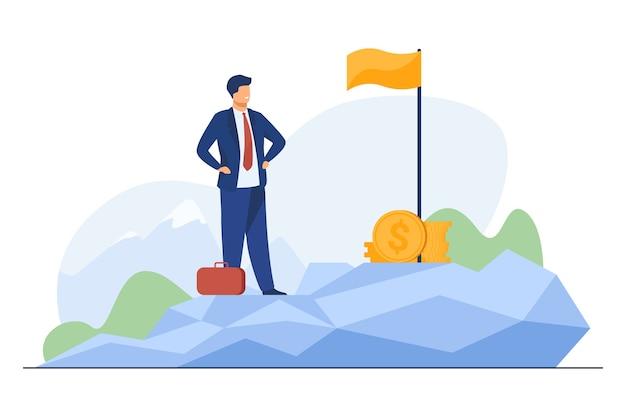 Lider biznesowy osiągający cel. biznesmen stojący na górze, flaga, kupa gotówki płaska ilustracja.