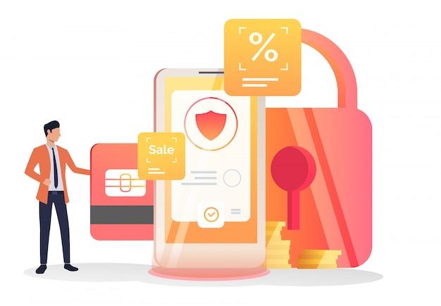 Lider biznesu wkładający kartę kredytową do komórki