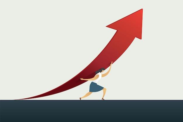 Lider bizneswoman trzymający strzałkę w górę ścieżkę do celu lub celu w sukcesie biznesowym