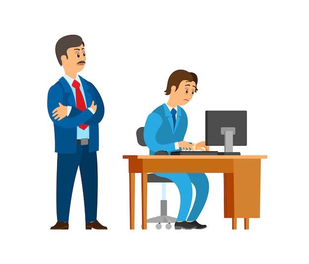 Lider firmy boss nadzorujący nowego pracownika biurowego