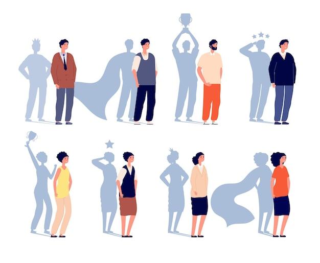 Lider motywacji. cień superbohatera, kreatywna wizja osoby biznesu. potężny bohater motywuje, myśląc jak mistrz ilustracji wektorowych. pewność lidera, siła menedżera mężczyzny i kobiety