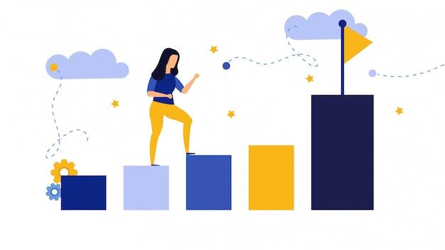Lider osiągnięć marketingowych kobieta biznesu. pracownik biegnie do wyboru celu.