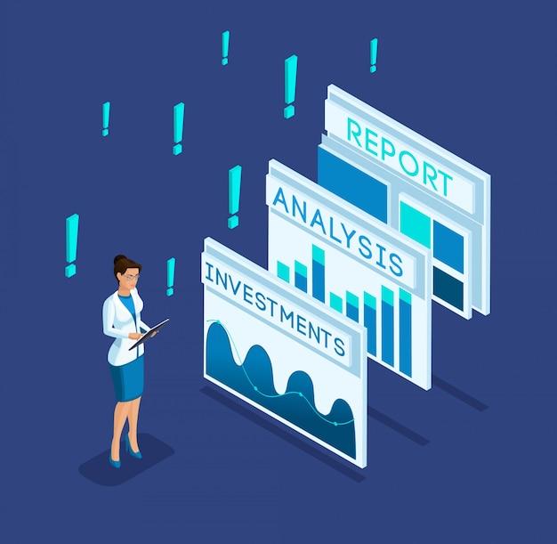 Liderka izometryczna, bizneswoman, pracuje, przegląda raporty biznesowe, analizy danych, analityka wykresów i dochodów, grafika