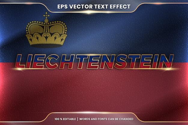 Liechtenstein z flagą kraju, edytowalny styl efektu tekstowego z koncepcją gradientu koloru złota