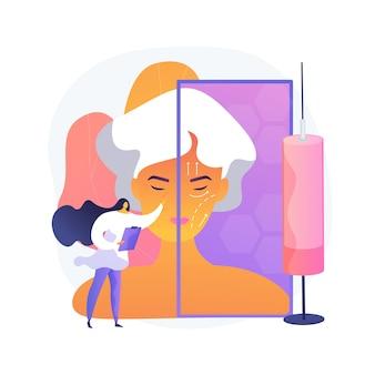 Lifting twarzy streszczenie wektor ilustracja koncepcja. rytidektomia, lifting twarzy, lifting twarzy, niechirurgiczne leczenie przeciwstarzeniowe, abstrakcyjna metafora odmładzania skóry twarzy.