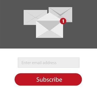 Light zapisz się do formularza biuletynu za pomocą przycisku w kolorach czerwonym, szarym i białym - email send concept vector